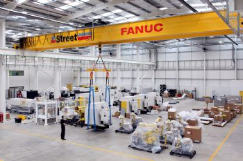 Overhead cranes installed at Fanuc factory