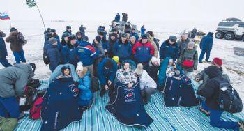 NASA astronauts land in Kazakhstan