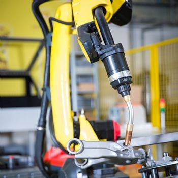 Robot welds large parts in small spaces