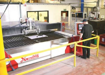 Water-jet cutting at Hobbs Precision Engineering