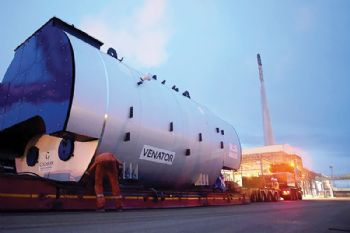 Giant high-efficiency boiler arrives at plant