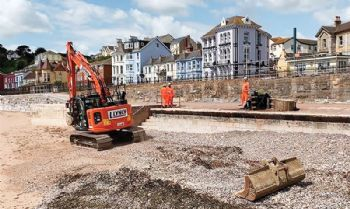 Work has restarted on new sea wall
