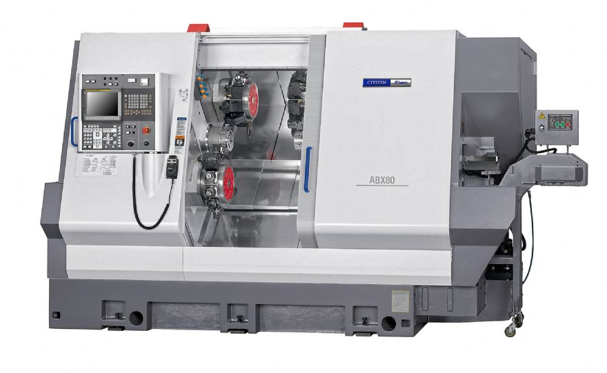 Triple Y-axis turret lathe has 80mm bar capacity
