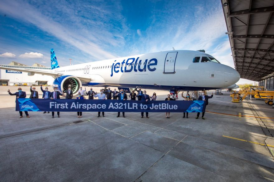 JetBlue receives first Airbus A321LR with new Airspace interior